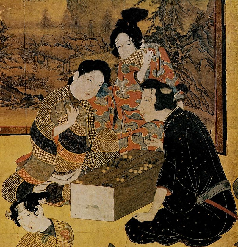 Playing sugoroku in 17th-century Japan